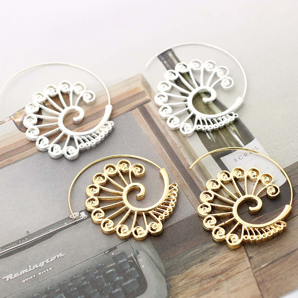Trendy Round Spiral Earrings Punk Exaggerated Hollow Whirlpool Gear Drop Earrings For Women Gold Sliver Ear