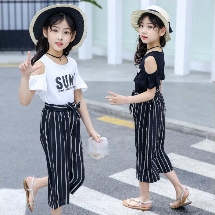 2pcs Girls clothes sets Shoulder Solid Color Short Sleeve + Shorts pants2pcs Girls clothes sets Shoulder Solid Color Short Sleeve + Shorts pants
