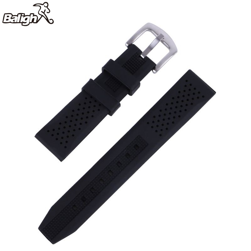 Newest Fashion Men Casual Watch Band Soft Silicone Rubber Waterproof Wrist Watch Band Strap 18-24mm Black