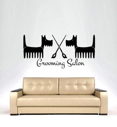 Grooming Salon Removable Vinyl Wall Decal Pet Shop Dog Comb Scissors Mural Art Wall Sticker Pet Salon Wall Decoration