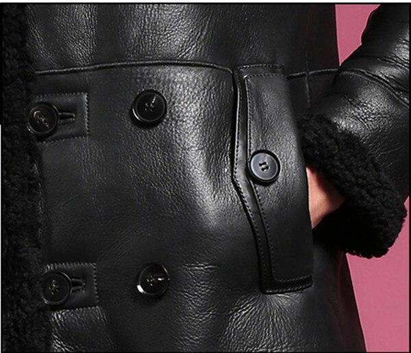Natural sheepskin fur coat male double breasted long genuine leather garment winter real fur overcoat men turn-down collar