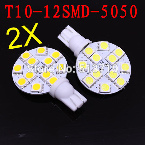 Hot sell! Canada Wholesale 2X T10 194 921 W5W 12 5050 SMD LED RV Landscaping Light car led side Lamp Bulb DC12V Warm White