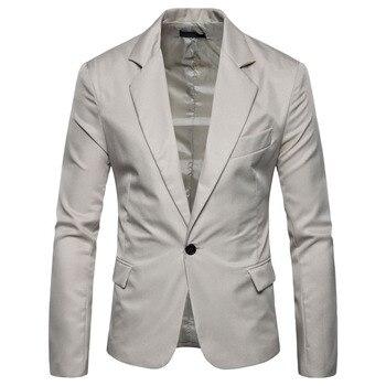 Single Button Solid Color Coat Suit Men Blazer