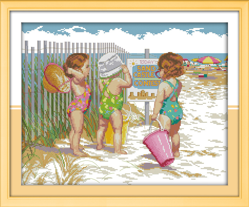 Babies play on the beach Printed Canvas DMC Counted Chinese Cross Stitch Kits printed Cross-stitch set Embroidery Needlework