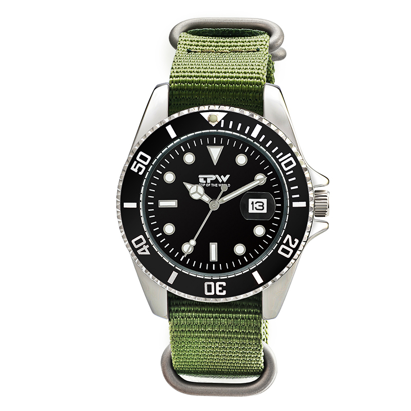Fashion Mens Analog Quarts Watches Men Wrist Watch Top Brand Luxury Casual Watch Clock Green Nylon Strap With Date Function