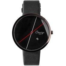 Homens Da Moda Simples Relógio de Design De Luxo Chaxigo Marca Homem Fresco Relógio preto Pulseira de Couro Genuíno Relógio de Quartzo Com Data Em estoque