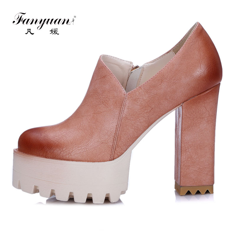 Fanyuan Women Pumps Super High Heels Casual Gladiator Heels Platform Shoes Spring Round Toe Single Shoes Ladies Zip Plus Size heco inc 82