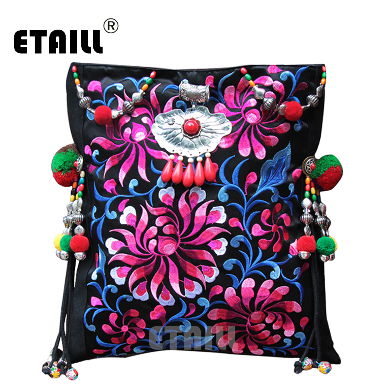 Vintage Original National Embroidery Shoulder Bag Indian Handmade Pompon Beaded Floral Embroidered Bags Handbags Sac a Dos Femme a three dimensional embroidery of flowers trees and fruits chinese embroidery handmade art design book