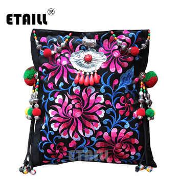 Vintage Original National Embroidery Shoulder Bag Indian Handmade Pompon Beaded Floral Embroidered Bags Handbags Sac a Dos Femme - DISCOUNT ITEM  46% OFF All Category