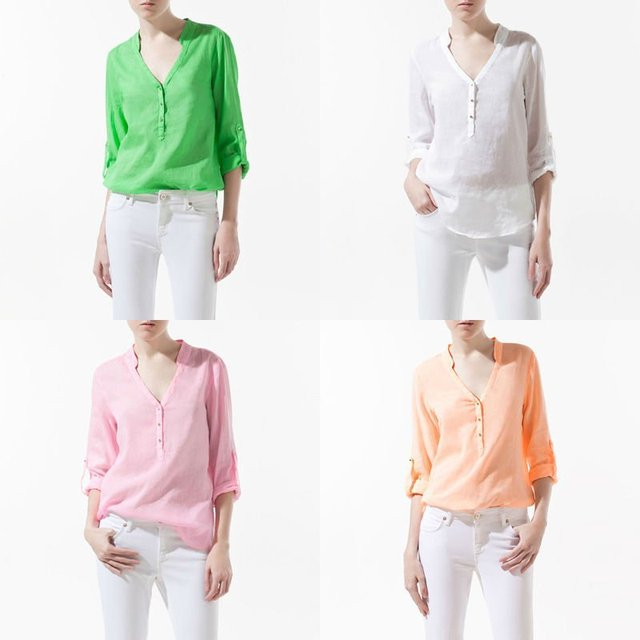 Imixbox CANDY COLOR V-NECK STUDS BUTTON LONG SLEEVE SHIRT W4042