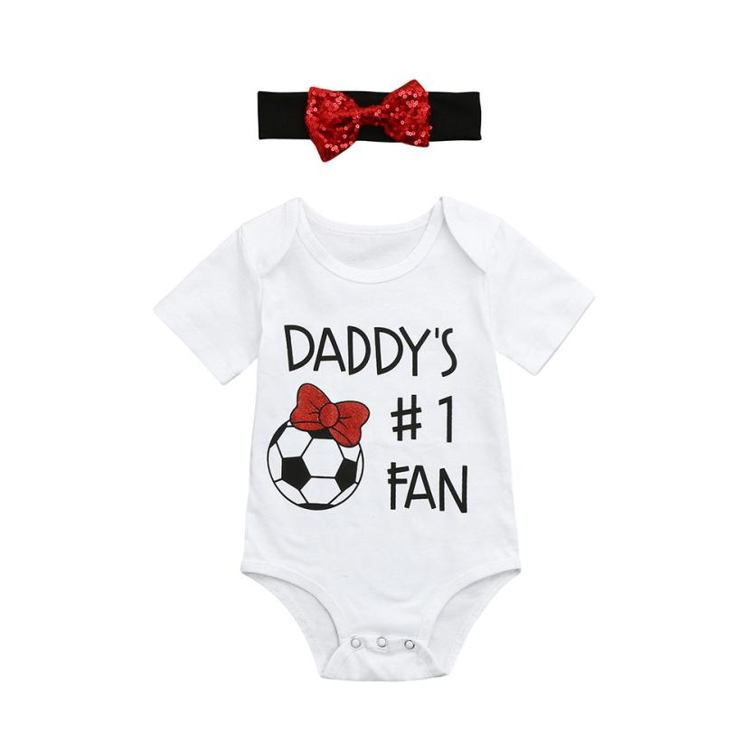 Baby Unisex Rompers Football Print Letter Onepiece Fathers Day Summer O-neck Short Sleeve Casual Clothes For Boys Girls 18Apr23