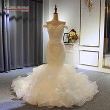 Sereia Beading completo Vestido De Noiva Novo Modelo Designer Amanda Novias