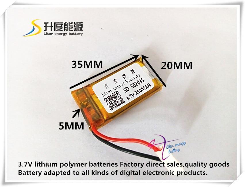 Free shipping 3.7V lithium polymer battery 502035 052035 350MAH small toys MP3 recorder 37V battery