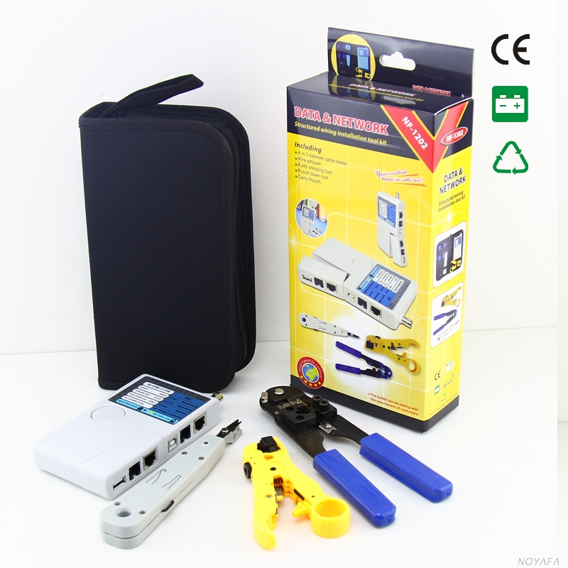 Original NOYAFA NF-1202 4in1 Crimping Tool RJ45 Wire Tracker Detector Finder LAN Kit Network Cable Tester Krone Stripper network wire tracker nf 806b handy support trace telephone wire lan cable free shipping not include battery
