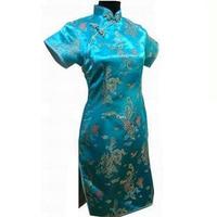 Sexy New Blue chinois femmes Satin de soie Cheongsam Top Short Mini Qipao Flowers Dress taille S M L XL XXL XXXL 4XL 5XL 6XL J4062