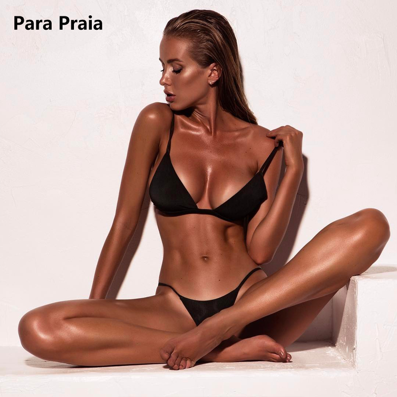 9 Colors Solid Bikini Set 2019 Sexy Push Up Swimwear Women Brazilian Swimsuit Low Waist Biquini Halter Two Pieces Bathing Suit 2