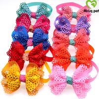 60pcs New Pet Puppy Dog Cat Bow Ties Adjustable with Mesh Fabric Bowknot Dog Ties Dog Collar Dog Accessory Pet Supplies