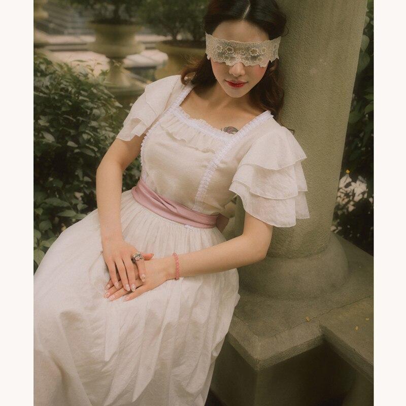 ฤดูร้อนผู้หญิง Vintage Elegant Slim สีขาวสุภาพสตรี Retro Retro Lolita หวาน Tencel ผ้าฝ้ายชุดยาวลูกไม้สแควร์ชุด-ใน ชุดเดรส จาก เสื้อผ้าสตรี บน   1