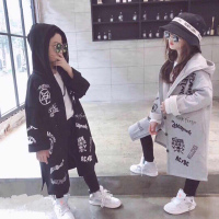 2018 autumn new boys and girls cotton printed long coats in the children's foreign Korean version of the hoodie children's fashi