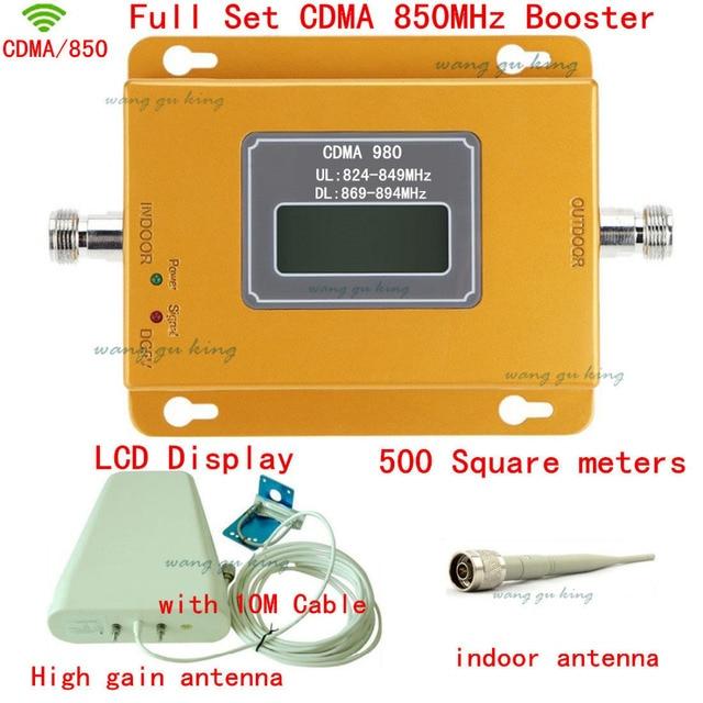 Conjunto completo Display LCD GSM CDMA 850 Mhz impulsionador Ao Ar Livre Antena + Antena interna + 10 Cabo CDMA 850 Mhz amplificador de sinal repetidor