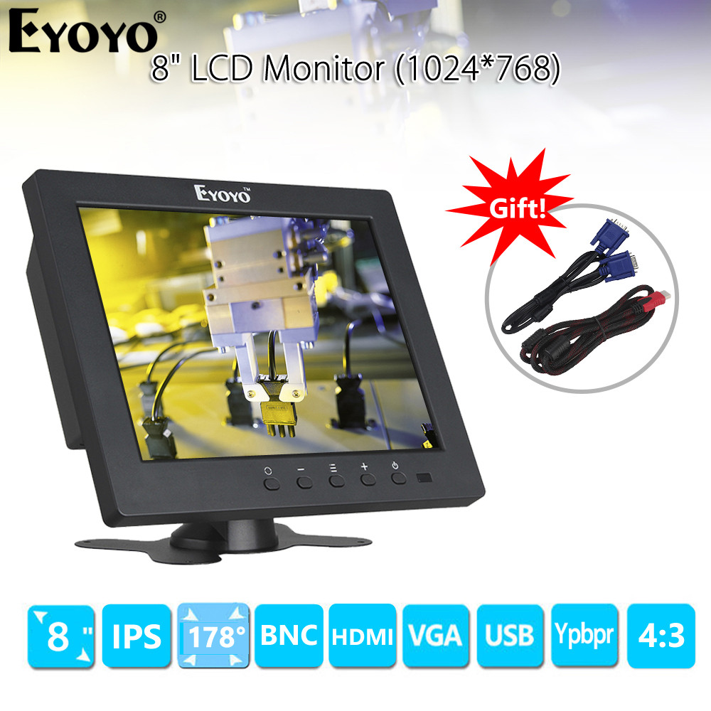 EYOYO S801C 8 inch IPS LCD 4:3 Monitor VGA BNC HDMI Ypbpr with Built-in speakers for PC DVR CCTV Security SurvillanceEYOYO S801C 8 inch IPS LCD 4:3 Monitor VGA BNC HDMI Ypbpr with Built-in speakers for PC DVR CCTV Security Survillance