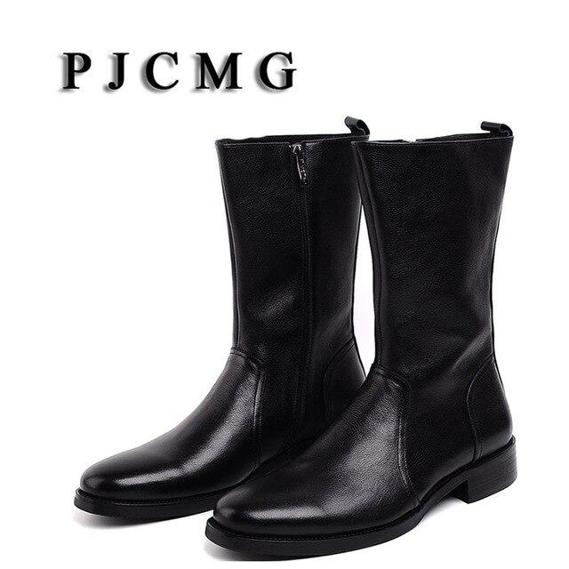 PJCMG yeni erkek yüksek çizmeler hakiki deri yüksek-bacak Martin erkek ayakkabı fermuar tasarım taktik çizmeler Delta erkekler siyah çizmeler 72070N