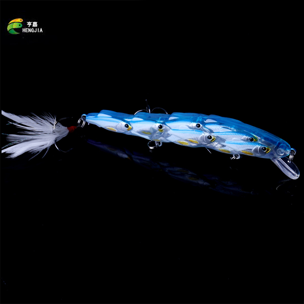 New Arrival Shoal Type Minnow Hard Baits 11.5cm 15.7g Fishing Lure 3pcs 4# Hooks Crankabaits 5 Colors Wobbler With Feather Hook fishing baits with hook color assorted 5 pack