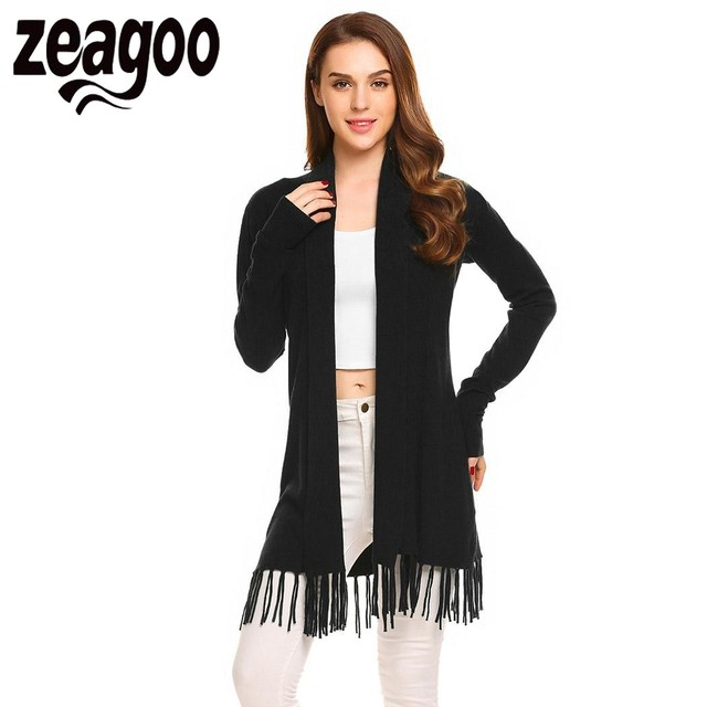 Zeagoo 2018 Musim Gugur Wanita Cardigan Sweter Lengan Panjang Terbuka Depan  Polos Tipis Rajut Rumbai Panjang fd0fa76cd0