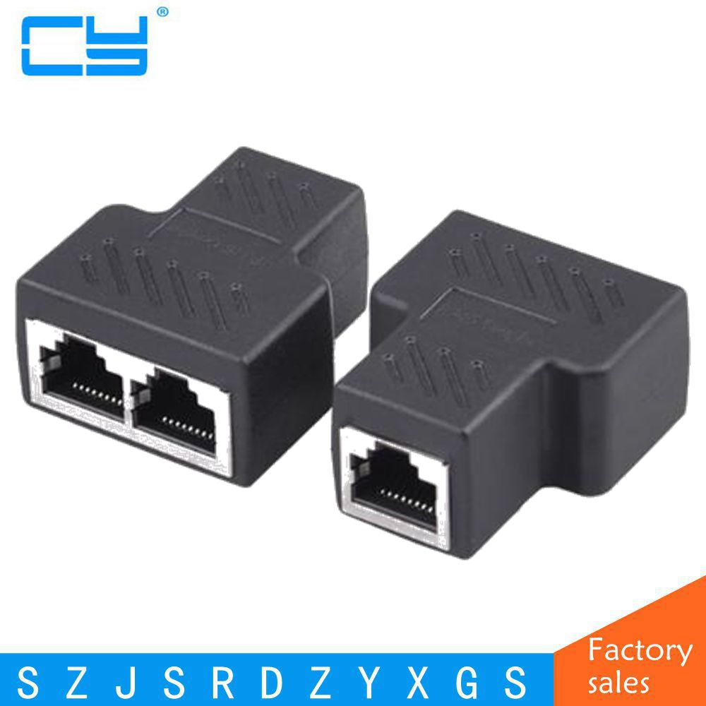 Cat6 RJ45 8P8C Plug to Dual RJ45 Splitter Network Ethernet Patch Cord Adapter S