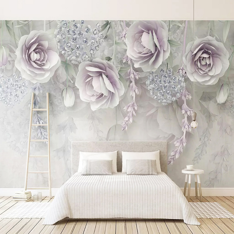 Us 8 81 51 Off 3d Wallpaper Modern Light Purple Flowers Murals Living Room Bedroom Abstract Art Home Decor Wall Painting Papel De Parede Sala In
