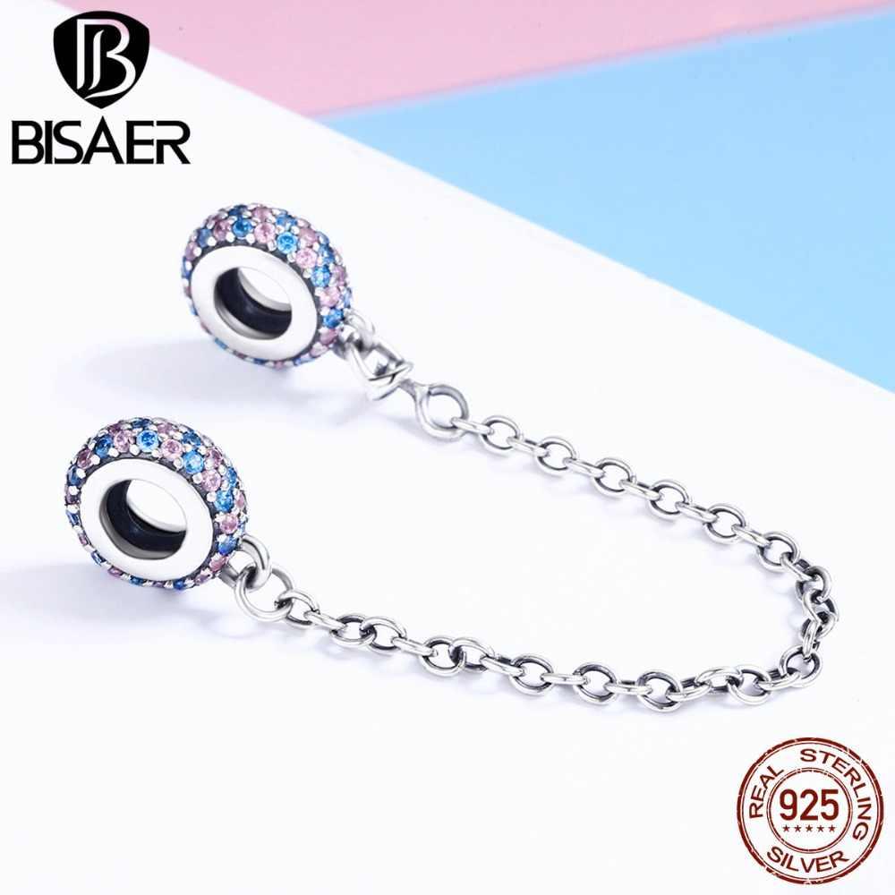 BISAER 925 plata esterlina empedrado inspiración estrella cadena de seguridad claro CZ Stopper Charms Fit Bracelet DIY Bead for Jewelry Making