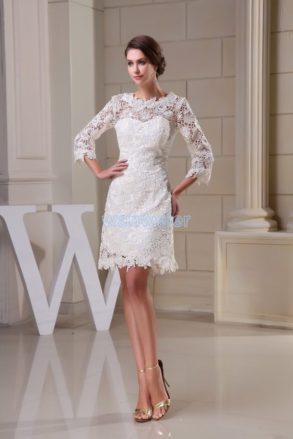 1c944ad3708cf US $99.0 |free shipping modest 2016 new design hot sale custom size plus  size gown beach long sleeve lace short white Bridesmaid Dresses-in  Bridesmaid ...