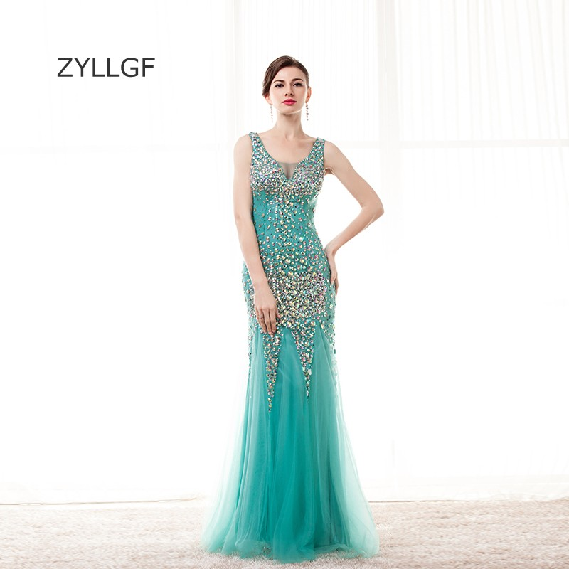ZYLLGF Crystal Bridesmaid Dress Long Vestidos De Noche Largos Elegantes Mermaid V Neck Sheer Back Wedding Party Dress 2018 Q134 ...