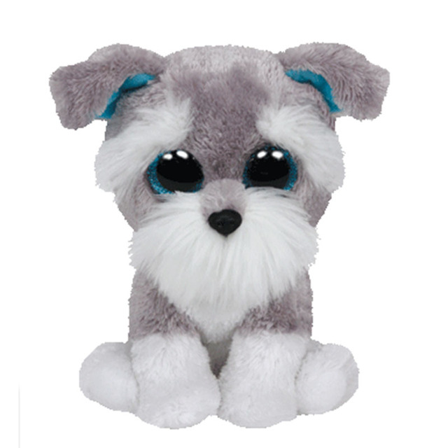 364545066be New Original Ty Beanie Boos Big Eyed Stuffed Animal Whiskers Grey Schnauzer Dog  Plush Doll Kids
