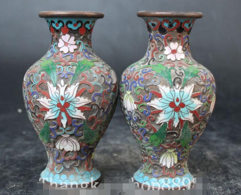 Chinese Folk Cloisonne Enamel Bronze Flower Vase Bottle Pair Vase Pair StatueChinese Folk Cloisonne Enamel Bronze Flower Vase Bottle Pair Vase Pair Statue