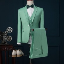 Coat Pant Suits Custom Mint-Green 3piece Tuxedo Blazer Groom Slim-Fit Designs Masculino