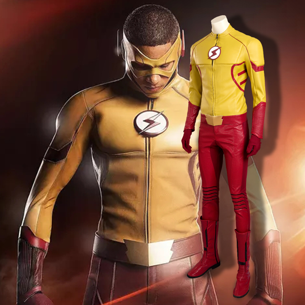 2016 New Fashion The Flash Season 3 Kid Flash Cosplay Costume Deluxe Leather Outfit Halloween Costume For Men