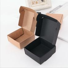Size 7*7*2.2cm black white brown wedding sweets boxes 50pcs packaging for handmade soap gift box cajas de carton para regalo