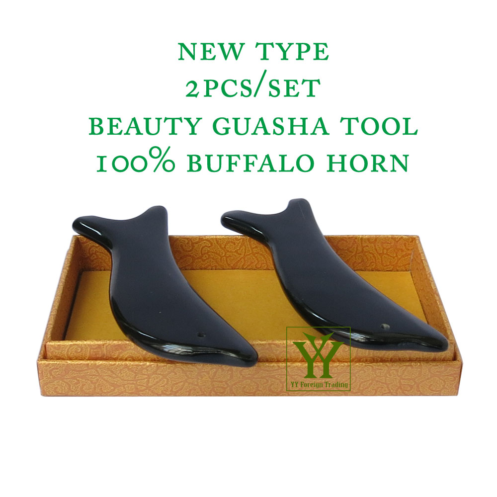 New Arrival 100% buffalo horn thicken high polishing beauty guasha tool 2pcs dolphin plate buffalo wcr hp gn
