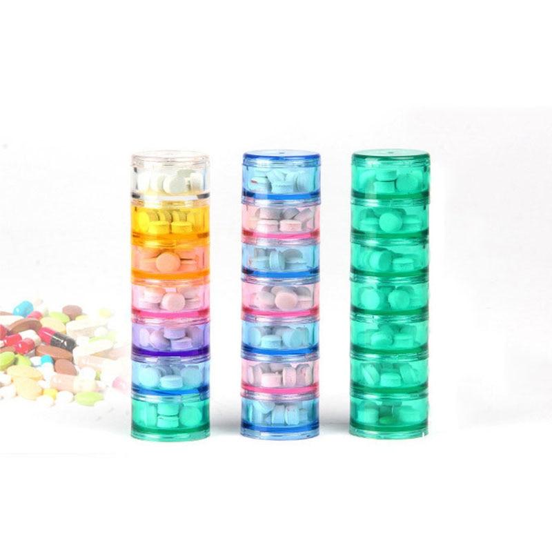 7 слота для мини-портативный stackable пластиковые путешествия таблетки случае капсула таблетка пищевая добавка контейнер для хранения медицинских HK176