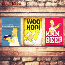 To Alcohol Plaque Vintage Metal Tin Signs Home Bar Pub Decorative Metal Plates I LOVE BEER Wall Stickers Simpsons Poster N193(China)