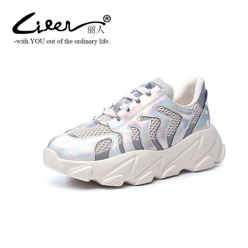 Liren New Style Microfiber Suede Leather Women Sneakers Spring Autumn Casual Shoes for Girls Platform Summer Mesh Shoes White in Women 39 s Vulcanize Shoes from Shoes