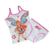 Retail Children Kids Baby Girls WINX Cotton Summer Style Clothing Set Underwear Set With Tank Tops
