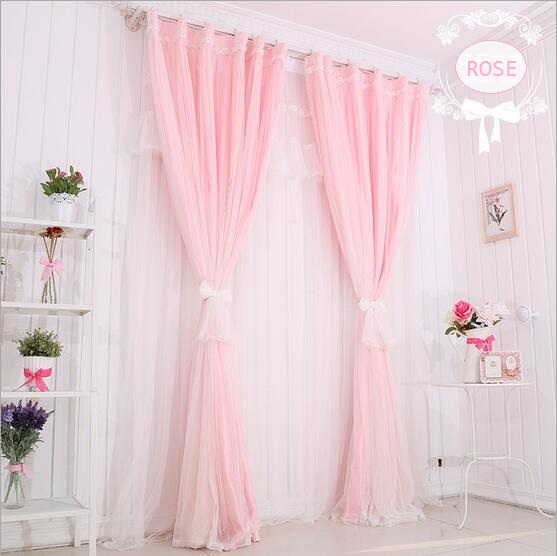 Wrap Knitting Pink Pure Color Double Layer Rose Lace Blackout Curtain For Living Room Childrens Bedroom