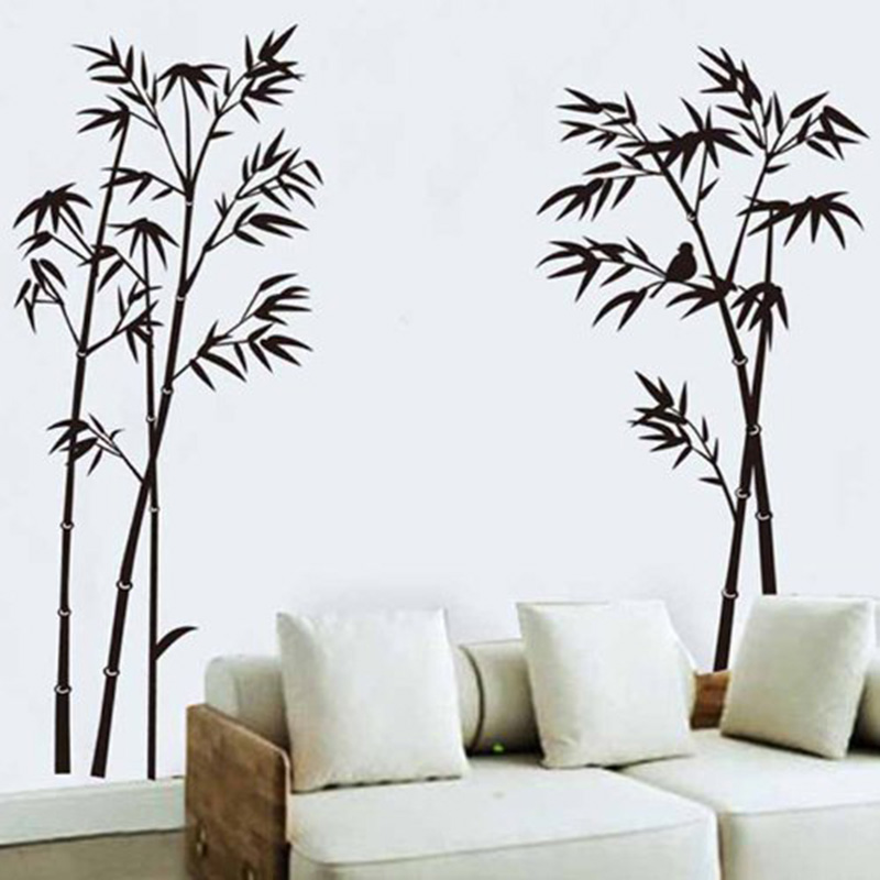 Wall decals home living room wall decor black bamboo wall stickers
