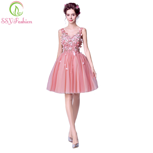 SSYFashion Summer New Sweet Lace Flower Graduation Dresses Pink V-neck  Sleeveless Appliques Banquet Party Grown Robe De Soiree 5a84df74591c