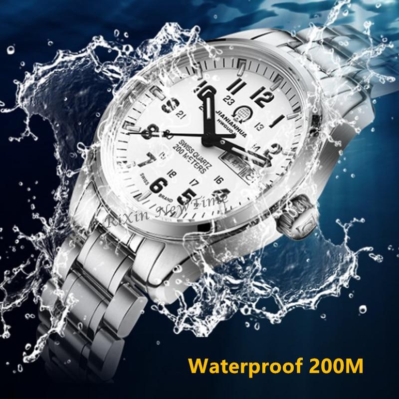 Podwójne kalendarz data światła tryt oglądać mężczyźni wojskowy nurkowanie wodoodporna znane marki zegarki tryt luminous T25 ze stali nierdzewnej uhr w Zegarki kwarcowe od Zegarki na  Grupa 3