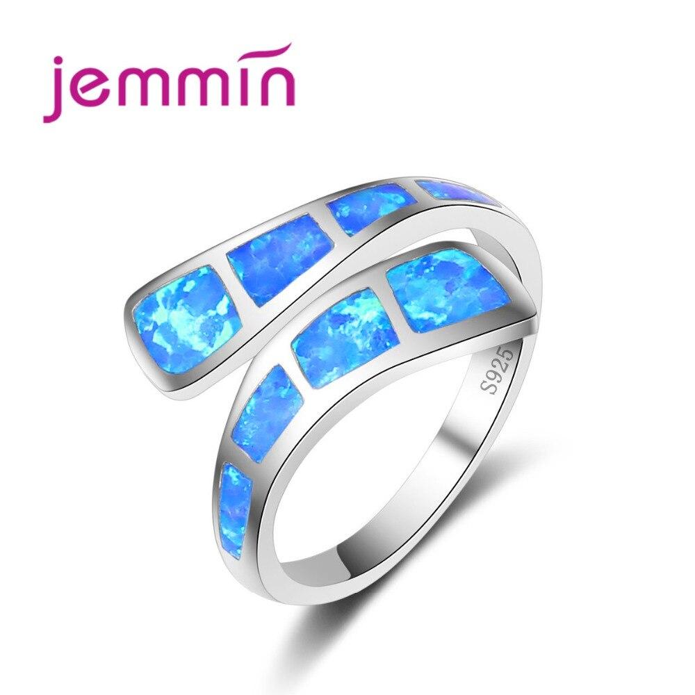 Pretty Jewelry Opal Rings Women Rings Blue Fire Opal 925 Sterling Silver Women Party Ring Fine Gifts size 6 8 9