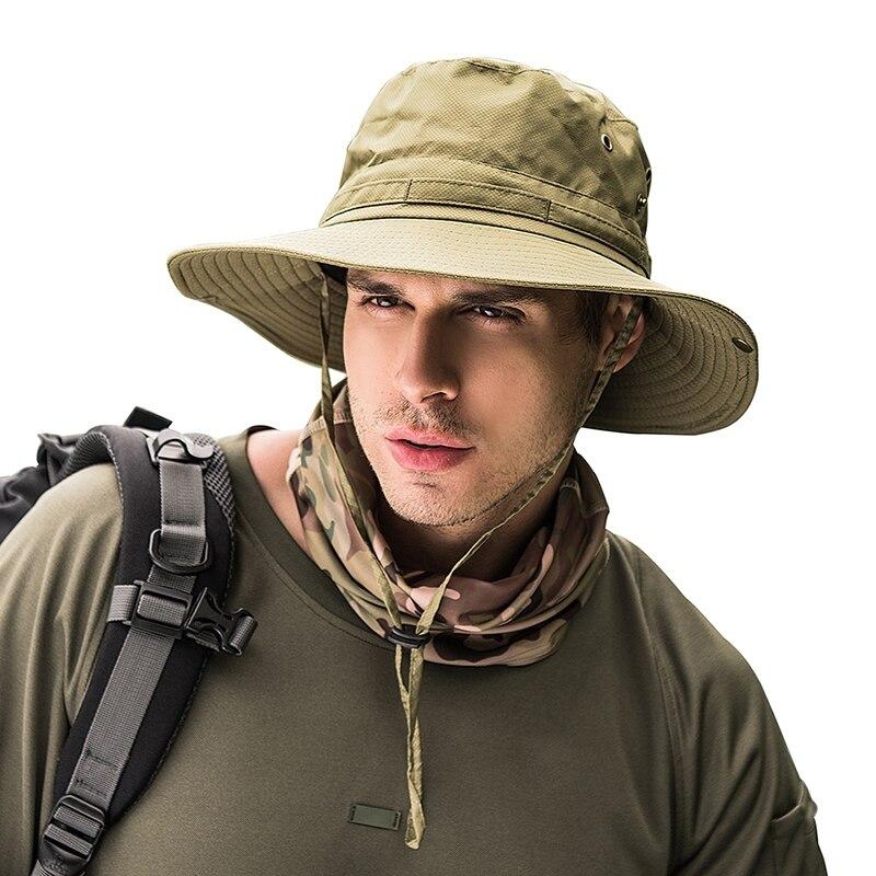 Summer Fishing Hat Man Women Wide Breathable Mesh Fishing Cap Beach Hats Sun Men