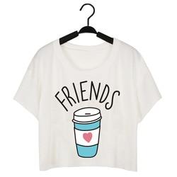 CWLSP Summer Tshirt Women Cropped Top Plus Size Best Friends SistersT-Shirt Donuts Milk Print camisas femininas XS-4XL QA1400 6